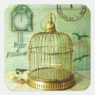 Birdcage de bronce pegatina cuadrada