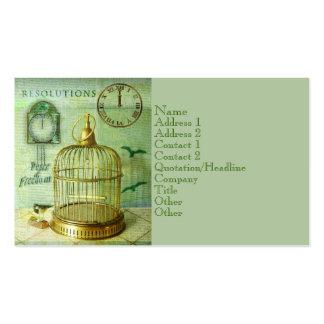 Birdcage de bronce tarjetas de visita