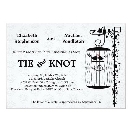 Birdcage de moda con el fondo elegante del damasco invitación 12,7 x 17,8 cm