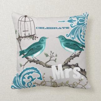 Birdcage del pájaro del amor del damasco del almohadas