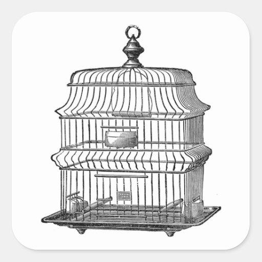 Birdcage del vintage calcomanía cuadradas personalizadas