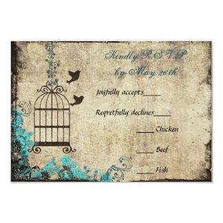 Birdcage del vintage que casa el azul de RSVP Invitación 8,9 X 12,7 Cm