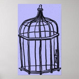 Birdcage in Purple Poster