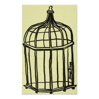 Birdcage in Yellow Poster