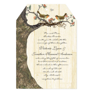 Birdcage Peach & Gray Vintage Birds Wedding Invite