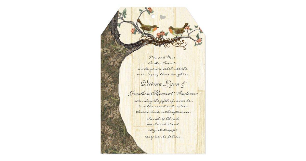 Birdcage Peach Gray Vintage Birds Wedding