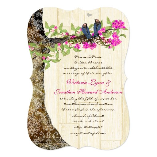 Birdcage Pink Navy Vintage Birds Wedding Damask Card