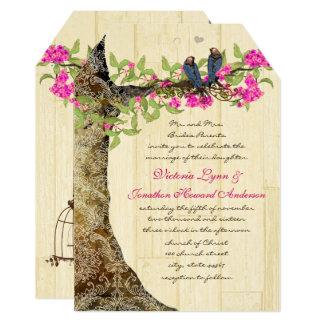Birdcage Pink Navy Vintage Birds Wedding Damask Invitation