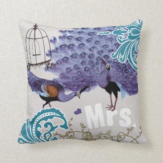 Birdcage púrpura del pavo real del vintage del dam almohadas