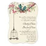 Birdcage romántico del rosa del pájaro del amor de anuncio personalizado