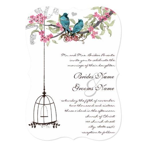 """Birdcage romántico del rosa del pájaro del amor de invitación 5"""" x 7"""""""