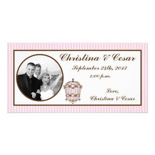 Birdcage/rosa de la invitación de la foto del comp tarjetas personales