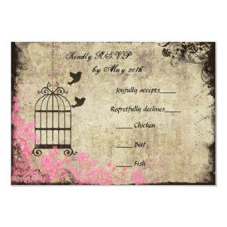 Birdcage rosado del vintage que casa RSVP Invitación 8,9 X 12,7 Cm