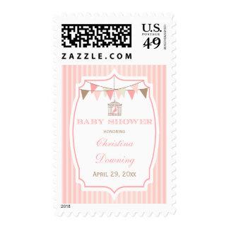 Birdcage rosado del vintage + sellos de la fiesta