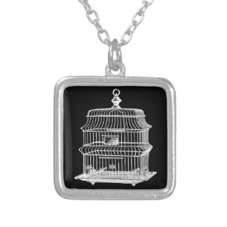 Birdcage Silver Plated Necklace