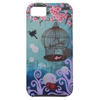 Birdcage y flores de cerezo funda para iPhone SE/5/5s