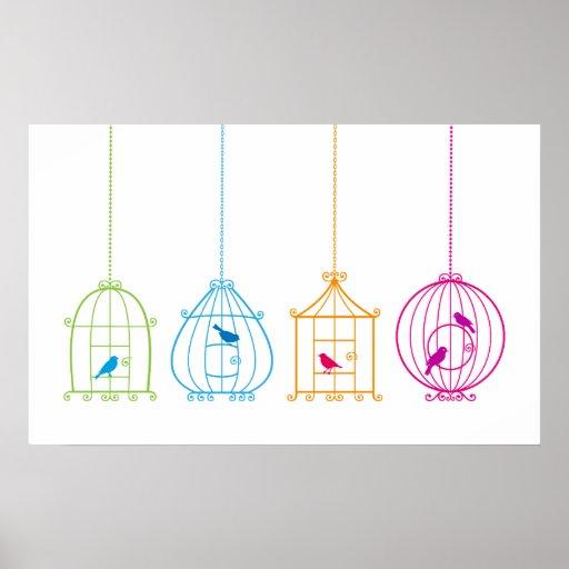 Birdcages coloridos del vintage con los pájaros li poster