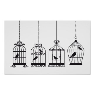 Birdcages del vintage con los pájaros lindos póster