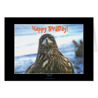 ¡BirdDay feliz! Saludo-Tarjeta de Eagle calvo Tarjeta Pequeña