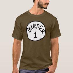 Men's Basic Dark T-Shirt with Birder 1, 2, 3 design