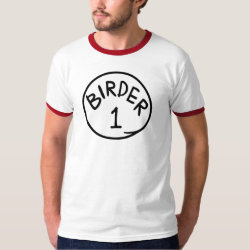 Men's Basic Ringer T-Shirt with Birder 1, 2, 3 design