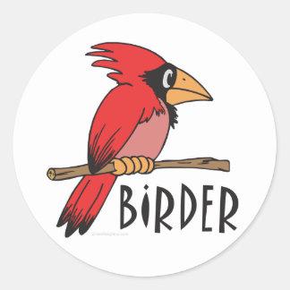 Birder cardinal, ornitología, observación de pegatina redonda