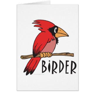 Birder cardinal, ornitología, observación de tarjeta de felicitación