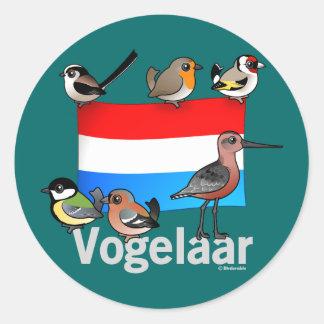 Birder holandés: Vogelaar Pegatina Redonda