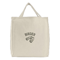 Birder with Binoculars Embroidered Tote Bag