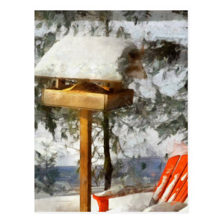Birdfeeder and Red Chair in Winter Snow Postcard