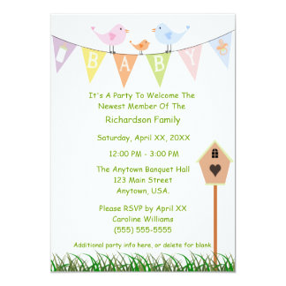 Birdhouse And Birds On A Baby Banner Baby Shower 5x7 Paper Invitation Card