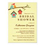 Birdhouse and Love Birds Polka Dots Invitation