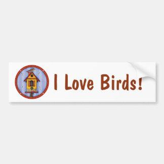 Birdhouse con el pájaro pegatina para auto