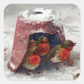 Birdhouse de la maceta para los petirrojos pegatina cuadrada