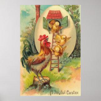 Birdhouse del huevo del polluelo del gallo de Pasc Póster