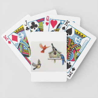 Birdhouse del invierno barajas de cartas