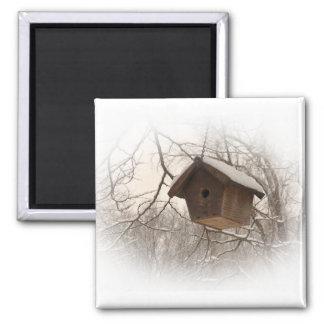 Birdhouse del invierno imán cuadrado