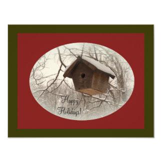 """Birdhouse del invierno invitación 4.25"""" x 5.5"""""""