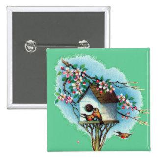 Birdhouse del vintage pin cuadrado