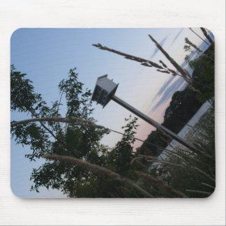 Birdhouse delante del lago alfombrillas de raton