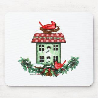 Birdhouse en el navidad tapetes de ratones