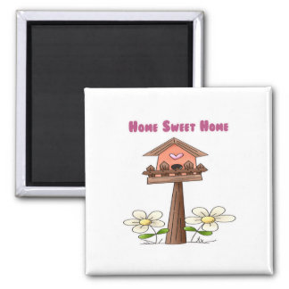 Birdhouse Home Sweet Home 2 Inch Square Magnet