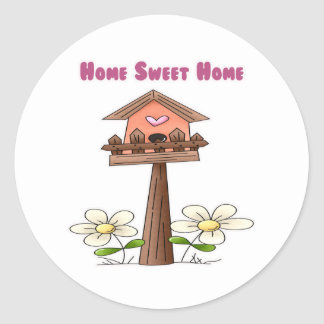 Birdhouse Home Sweet Home Classic Round Sticker