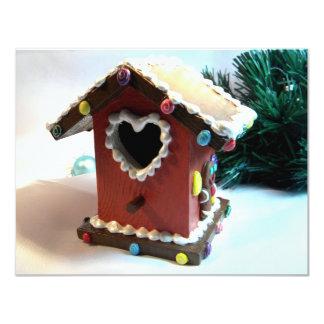 """Birdhouse I del pan de jengibre Invitación 4.25"""" X 5.5"""""""