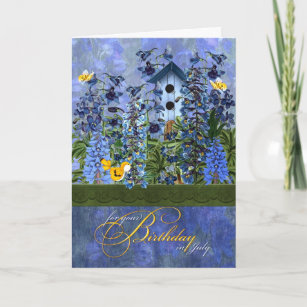 Birdhouse In A Larkspur Garden For July Birthday Card