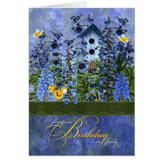 Birdhouse in a Larkspur Garden for July Birthday Card