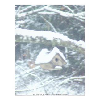 birdhouse in the snow card