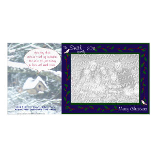 birdhouse in the snow, doves & holly, blue, cuckoo card