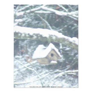 birdhouse in the snow personalized invite