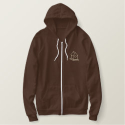Embroidered AA Fleece Zip Hoodie with Embroidered Back Yard Birder Gifts design